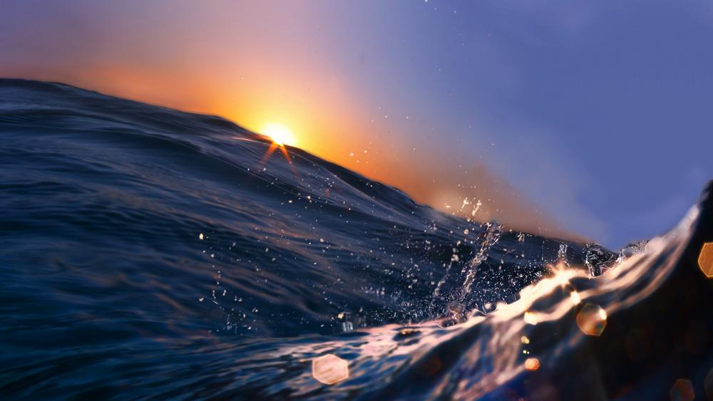 Waves in the sunset wallpaper
