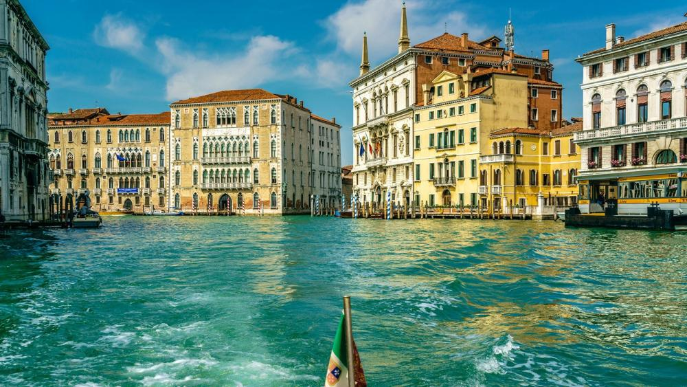 Venice from a gondola wallpaper