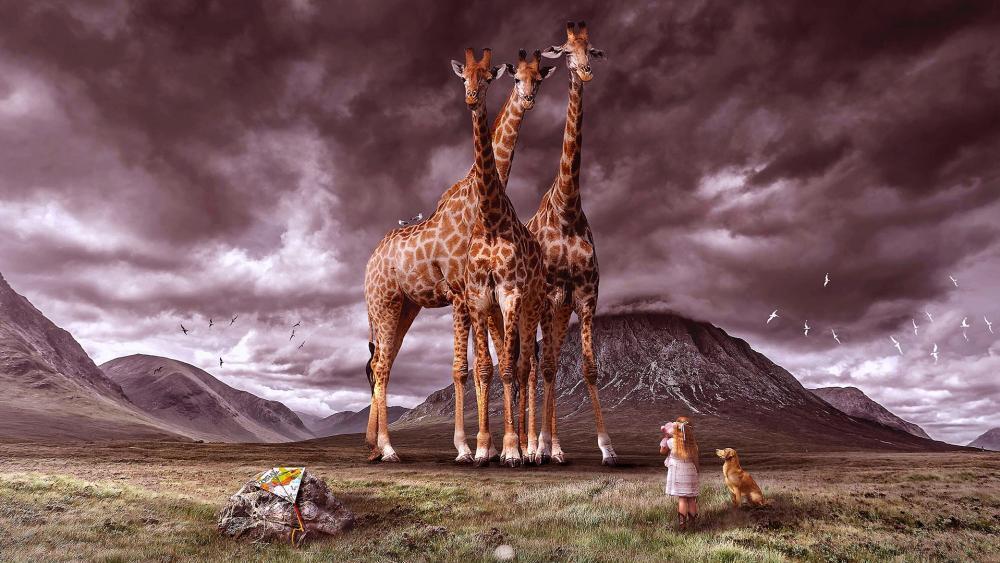 Little girl with dog looks at giraffes - Fantasy art wallpaper