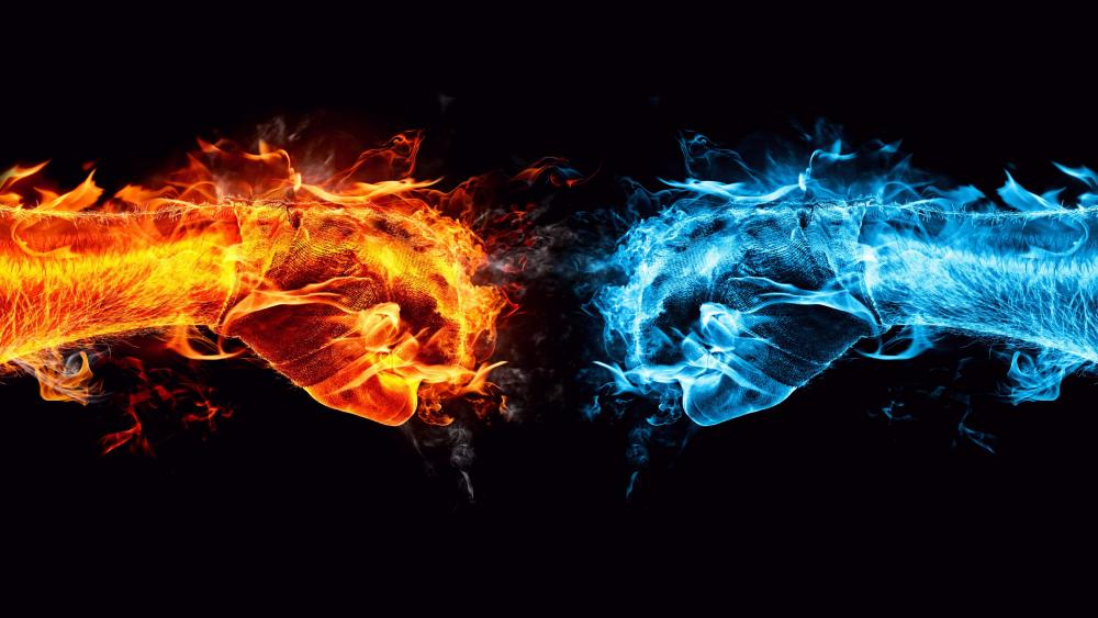 Hot & Cold fist fight wallpaper