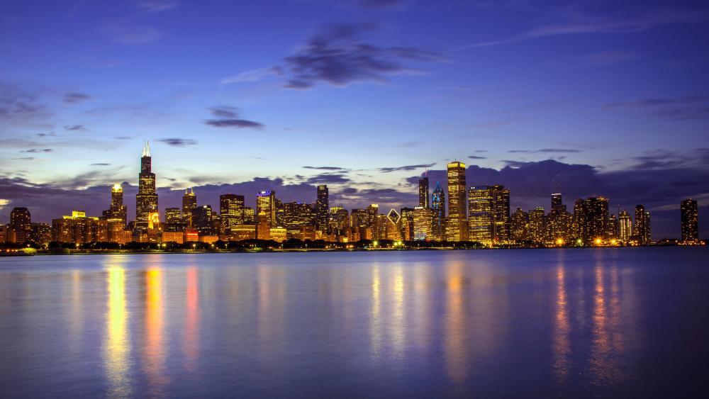 Chicago skyline from Lake Michigan wallpaper