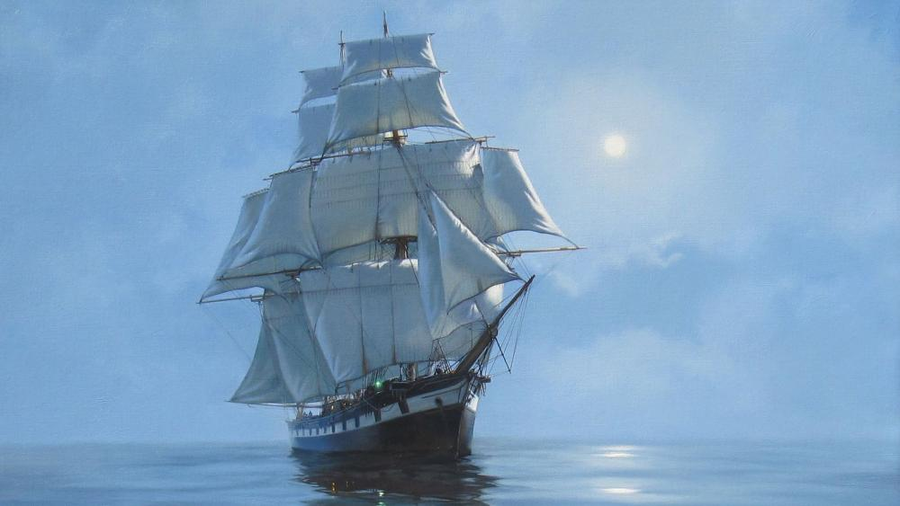 Sailing ship - Painting art wallpaper