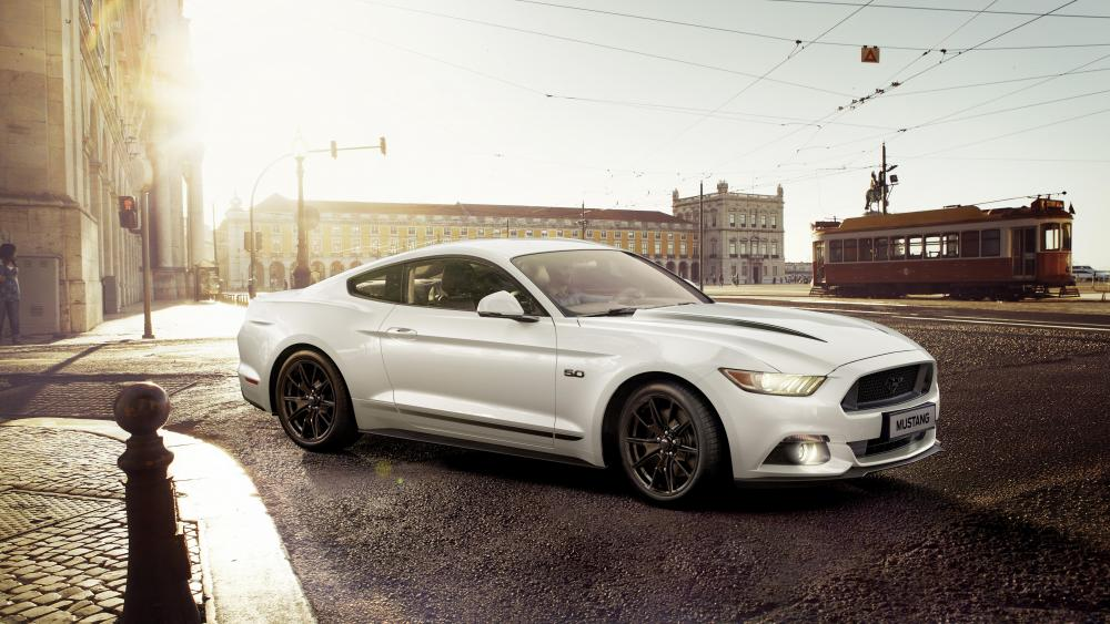 White Ford Mustang wallpaper