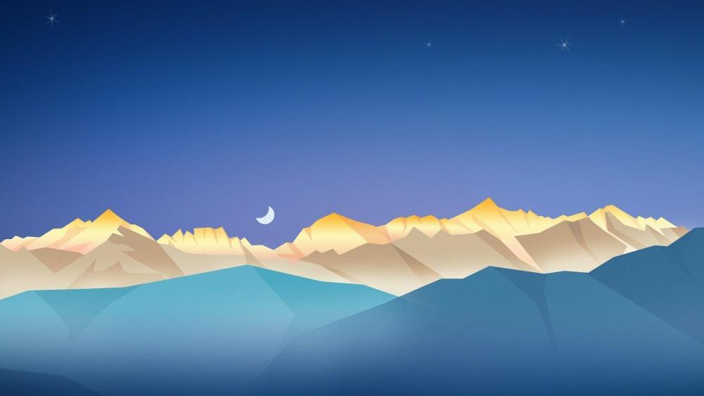 Half moon over the mountains wallpaper