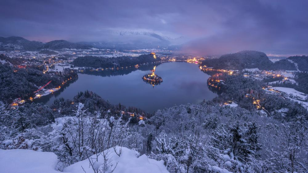 Lake Bled in winter wallpaper