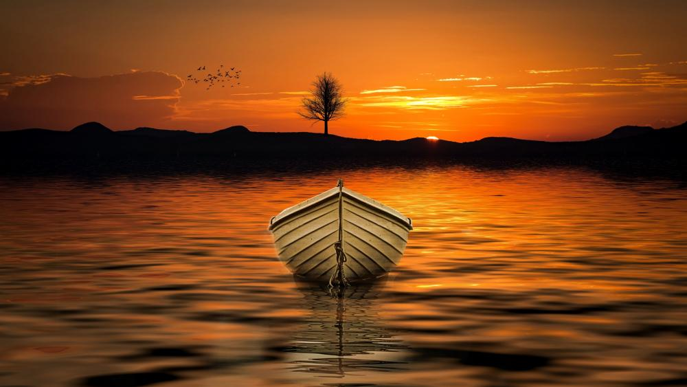 White boat in the sunset wallpaper