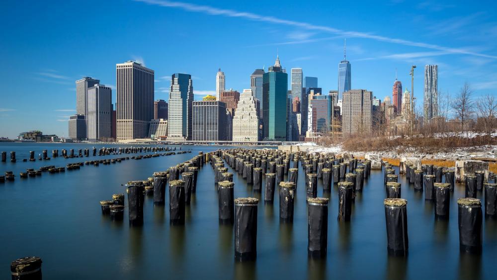 East River wooden pier stumps wallpaper