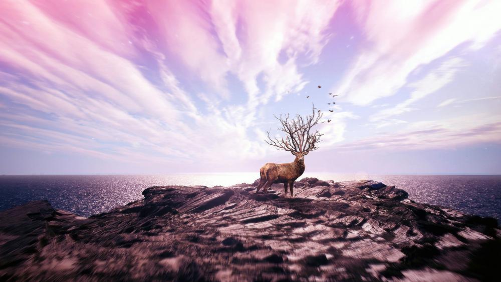 Deer on cliff - Photoshop art wallpaper