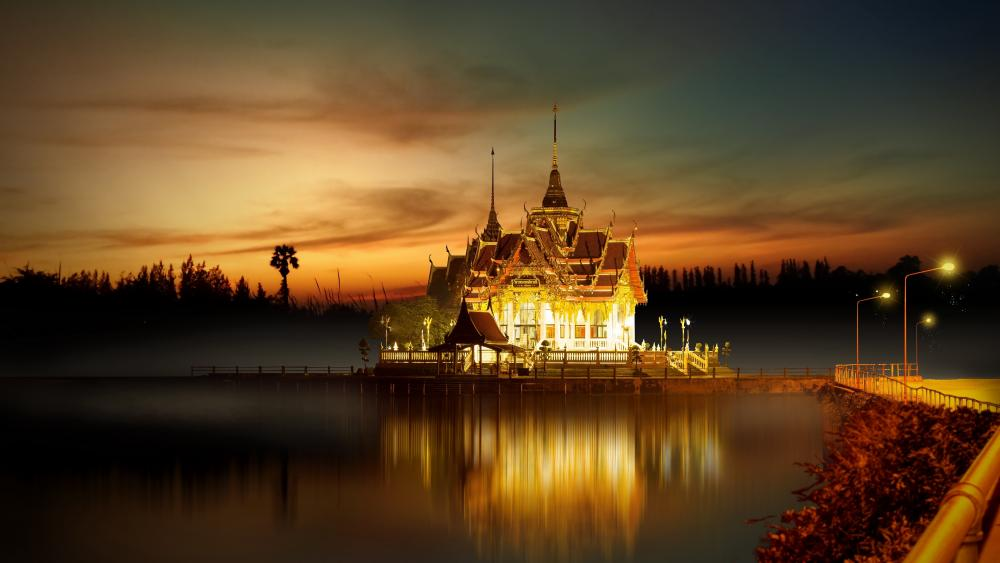 Fabolous temple in the lake wallpaper