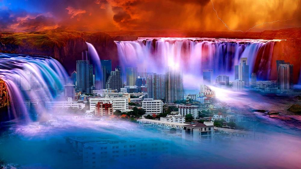 The city in the waterfall wallpaper