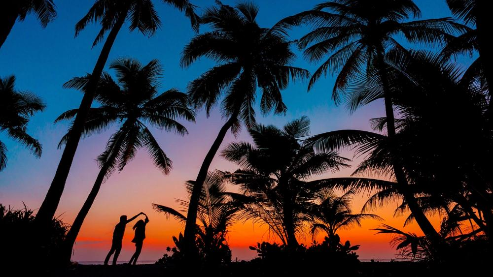 Loving couple under the palms wallpaper