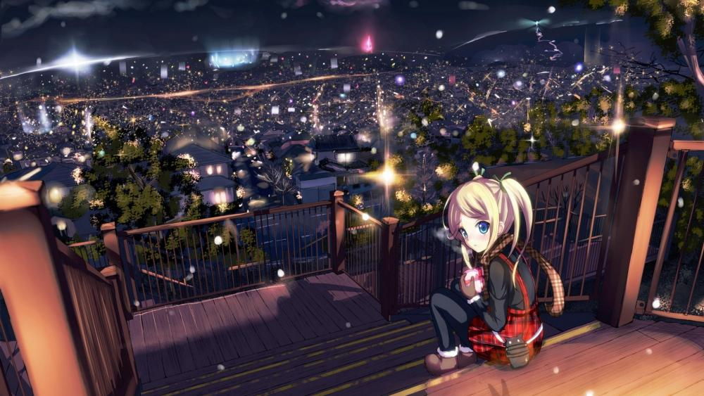 Anime girl sitting on the stairs above the city lights wallpaper