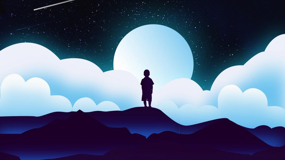 Boy silhouette in the moonlight wallpaper