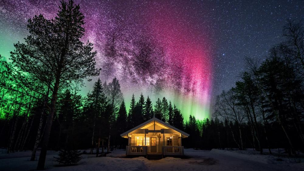 Forest house under the polar lights wallpaper