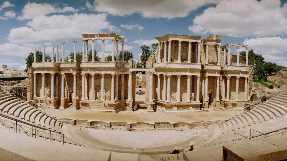 Antique Roman Theatre at Merida, Spain wallpaper