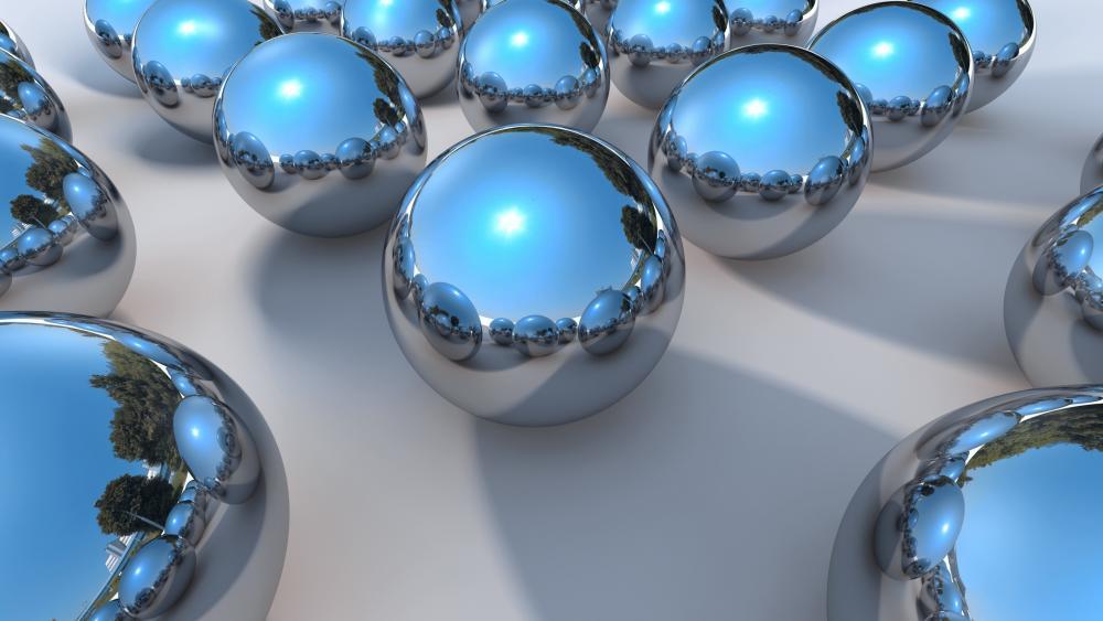 3D chrome balls wallpaper