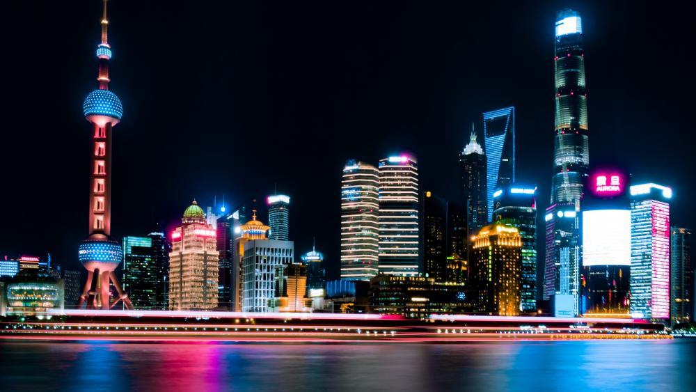 Pudong skyline at night wallpaper