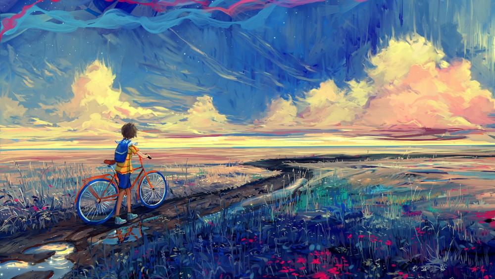 Kid with a bike in the rain - Painting art wallpaper