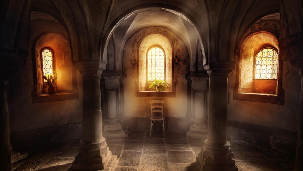 Gothic interior wallpaper