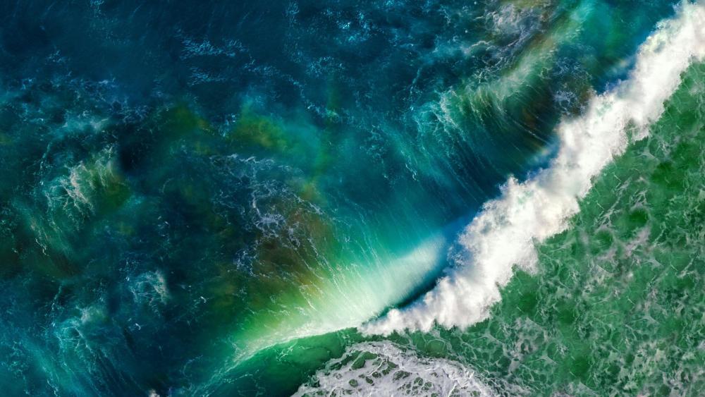 Ocean wave aerial view wallpaper