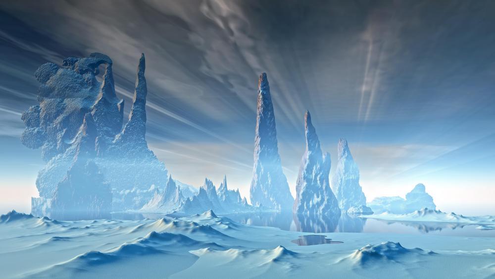 Frozen winter lanscape - Scifi art wallpaper