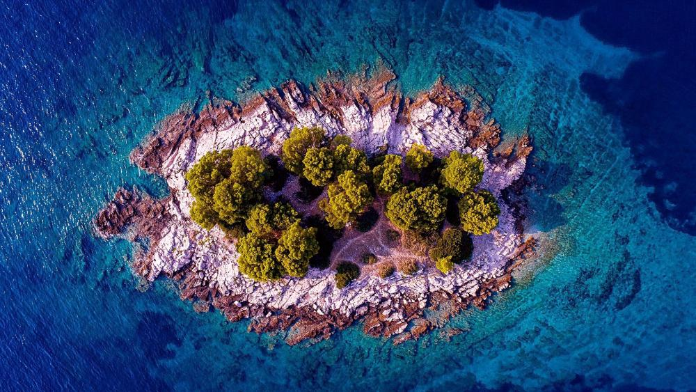 Croatian Island in the middle of the sea wallpaper