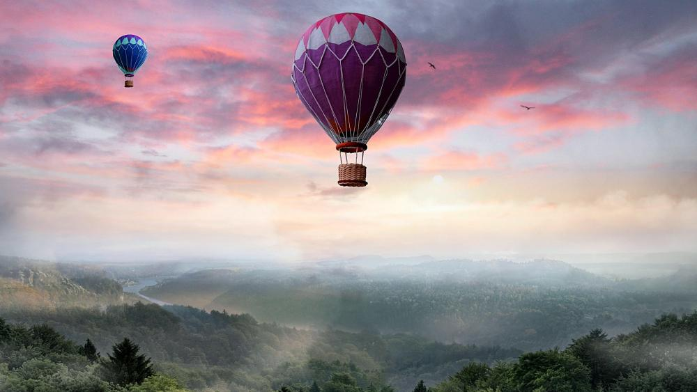 Hot air balloons in the dawn wallpaper