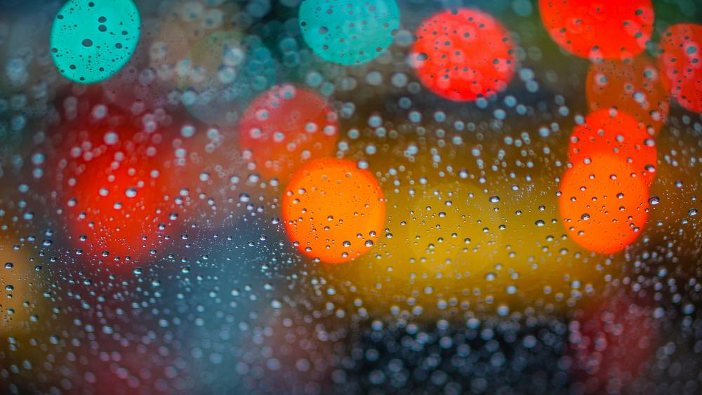 Waterdrops with bokeh lights wallpaper