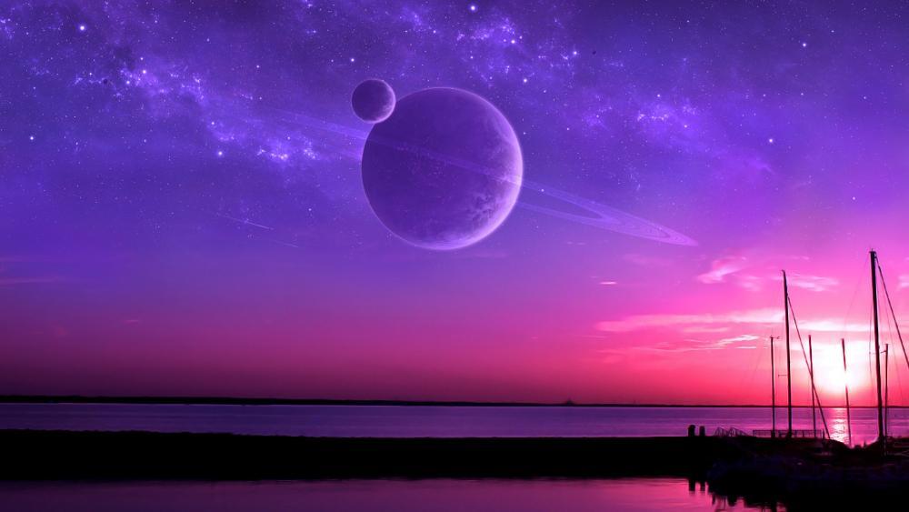 Purple ringed planet wallpaper