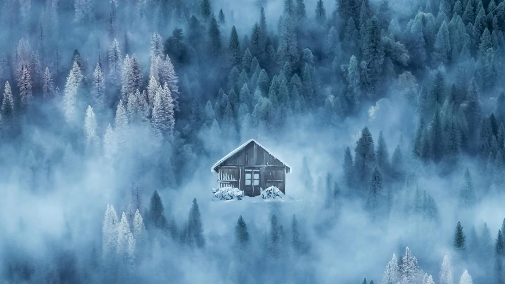 Lone cabin in the mountainside forest wallpaper