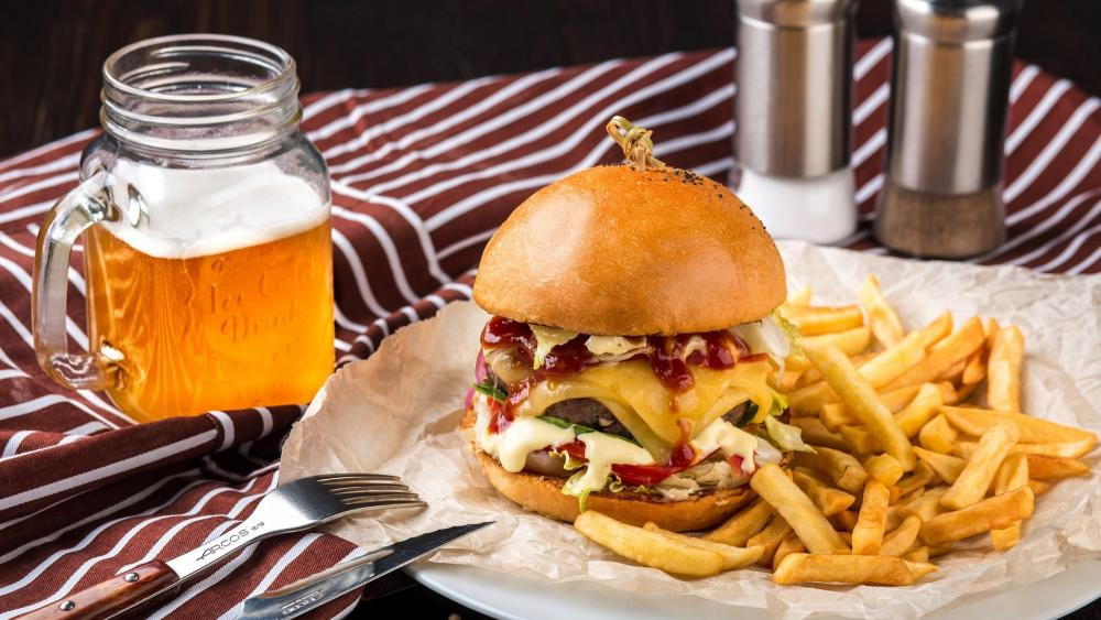 cheeseburger with french fries and beer wallpaper