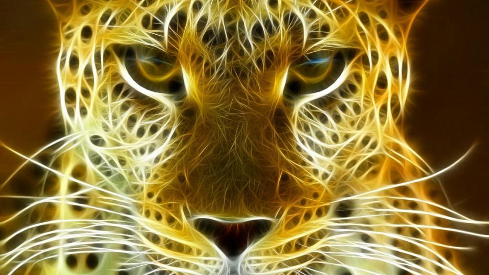Burning leopard wallpaper