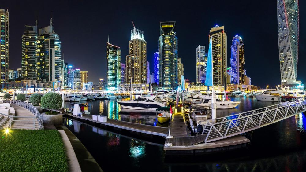 Dubai Marina at night wallpaper