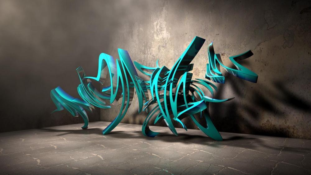 3D graffiti wallpaper