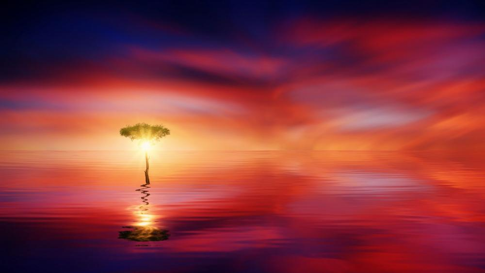 Lone tree in the sunset - Fantasy landscape wallpaper