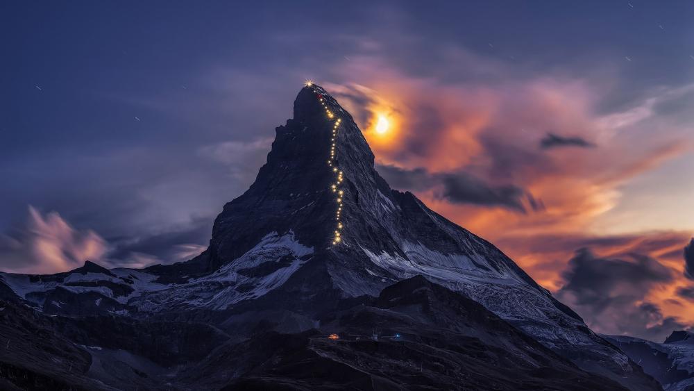 Lamps light route on Matterhorn wallpaper