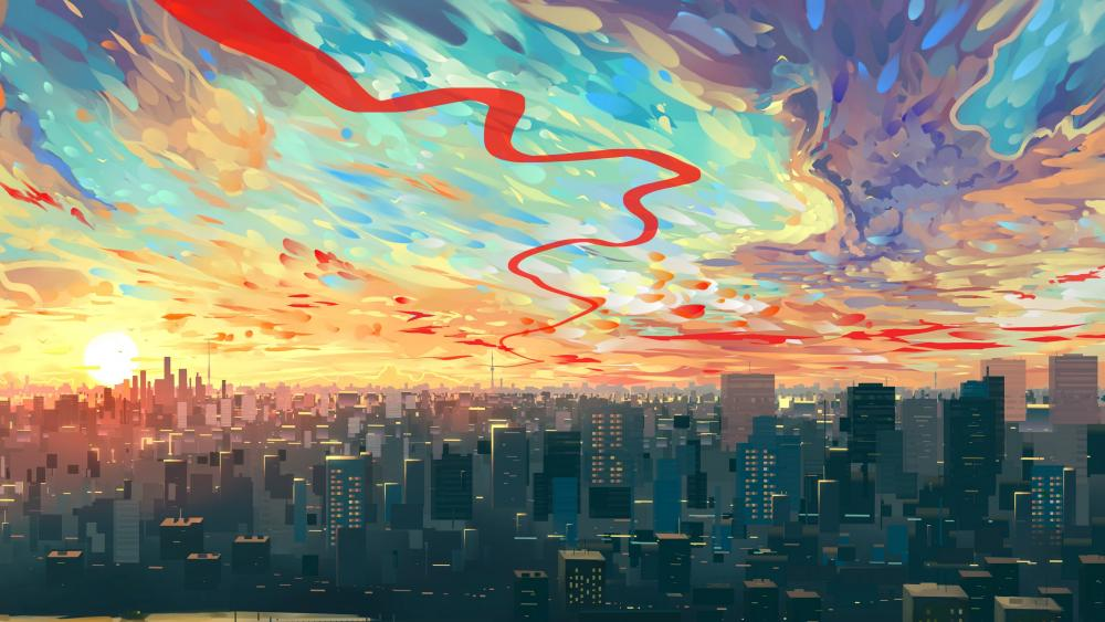 Metropolis at sunset - Modern art wallpaper