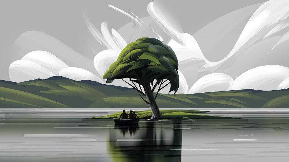Family boat trip - Digital painting wallpaper