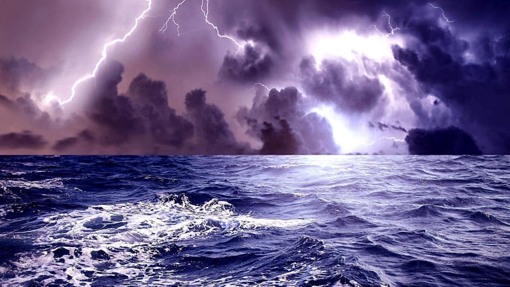 Lightning on the sea wallpaper