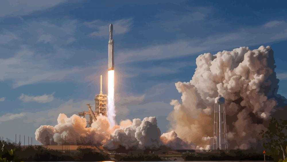 SpaceX Falcon Heavy rocket launch illustration wallpaper
