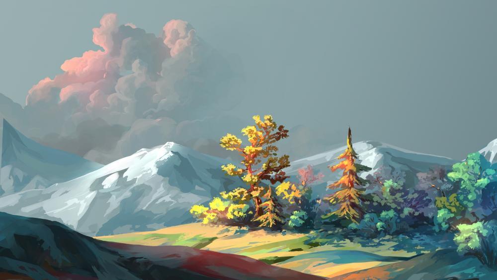 Modern landscape digital painting wallpaper