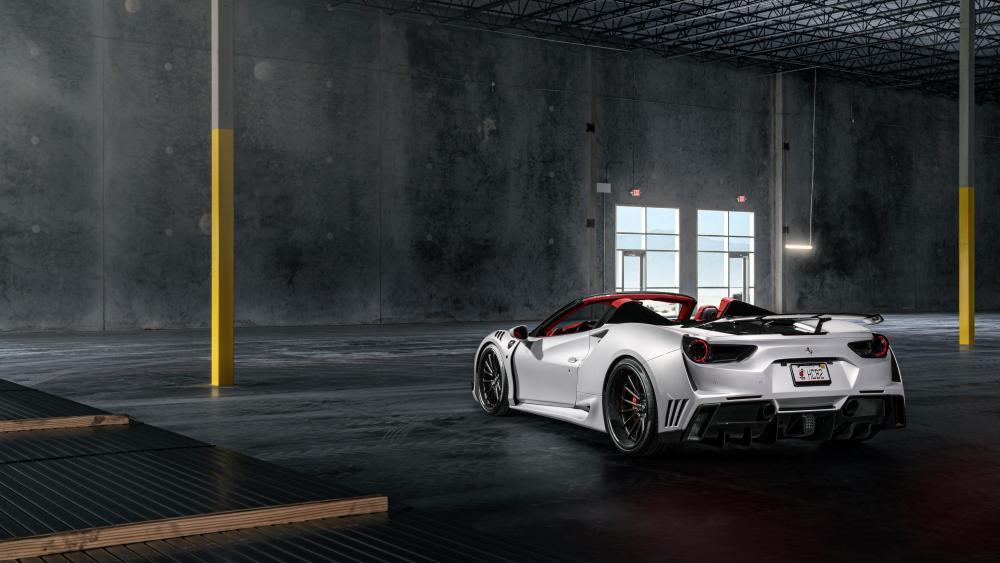White Ferrari 488 wallpaper