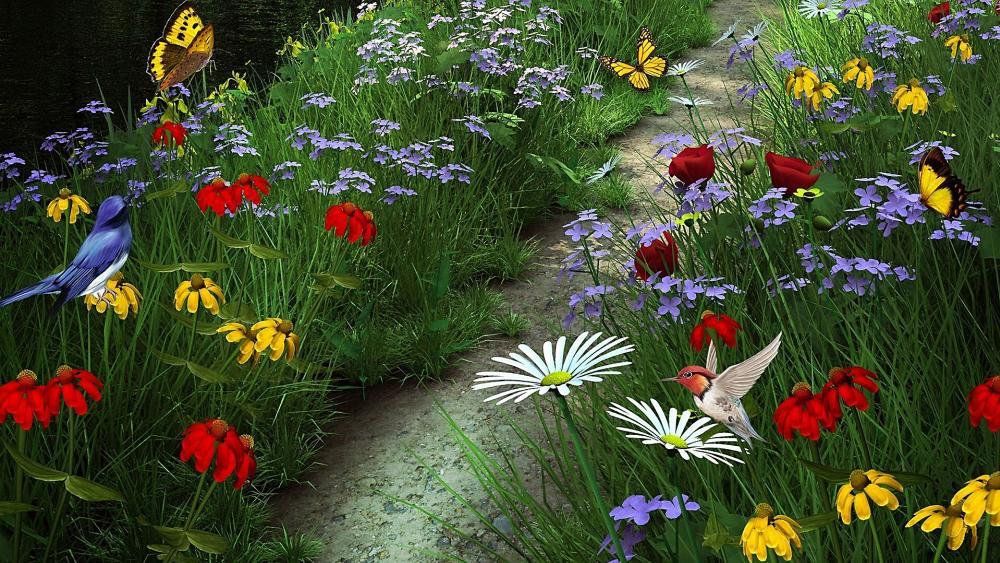 Flower garden with butterflies and little birds wallpaper