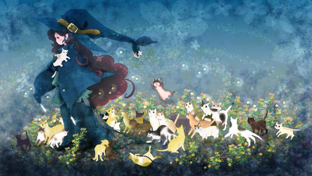 Kawaii witch with cats wallpaper