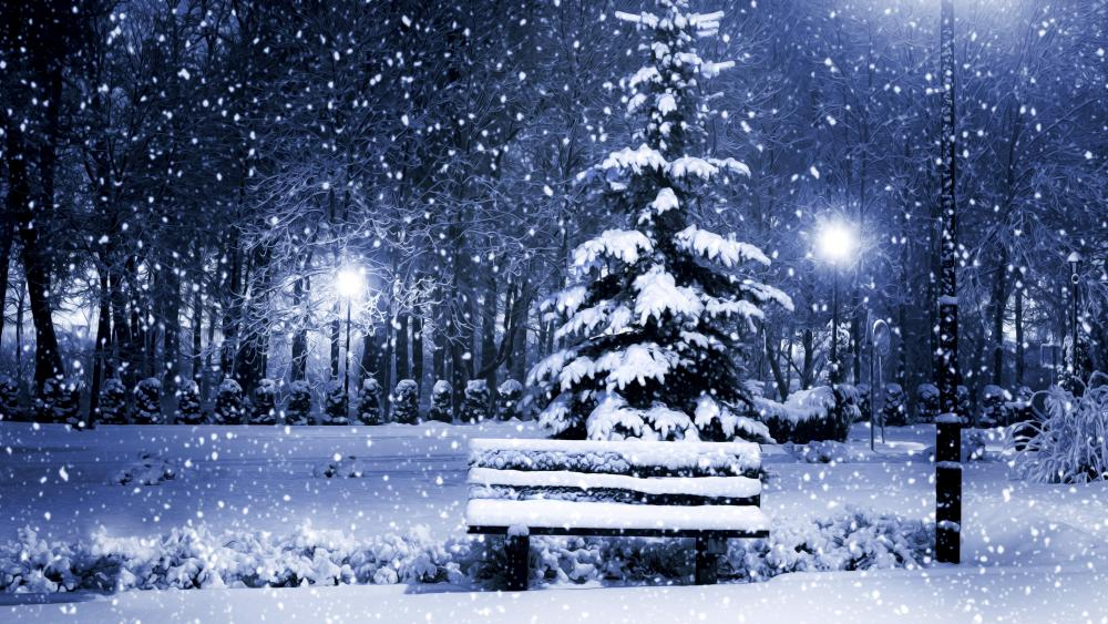 Snowy bench in the park illustration wallpaper