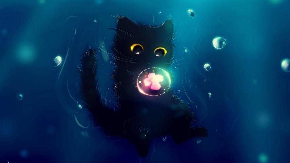 Black kitten with bubbles wallpaper