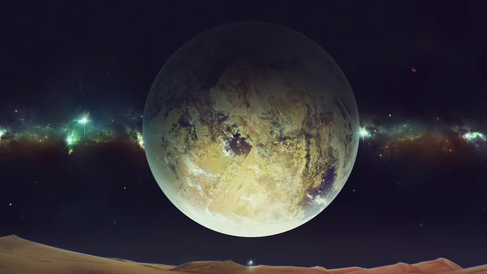 Huge planet over the desert wallpaper