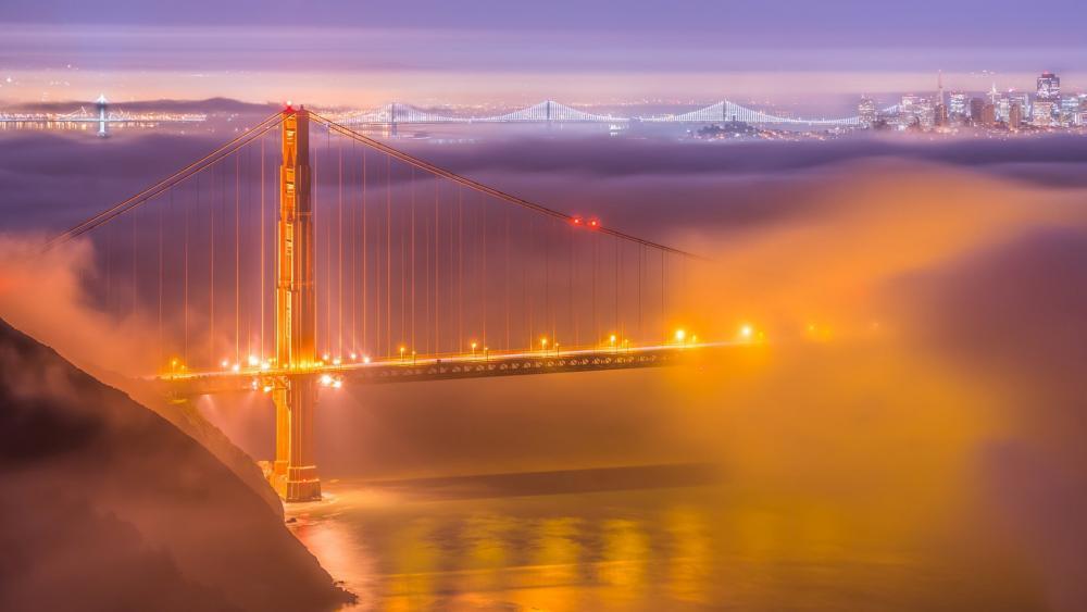 Golden Gate Bridge between the clouds wallpaper