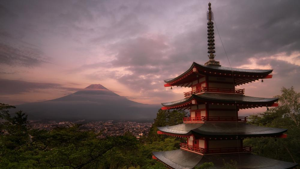 Chureito Pagoda and Mount Fuji wallpaper