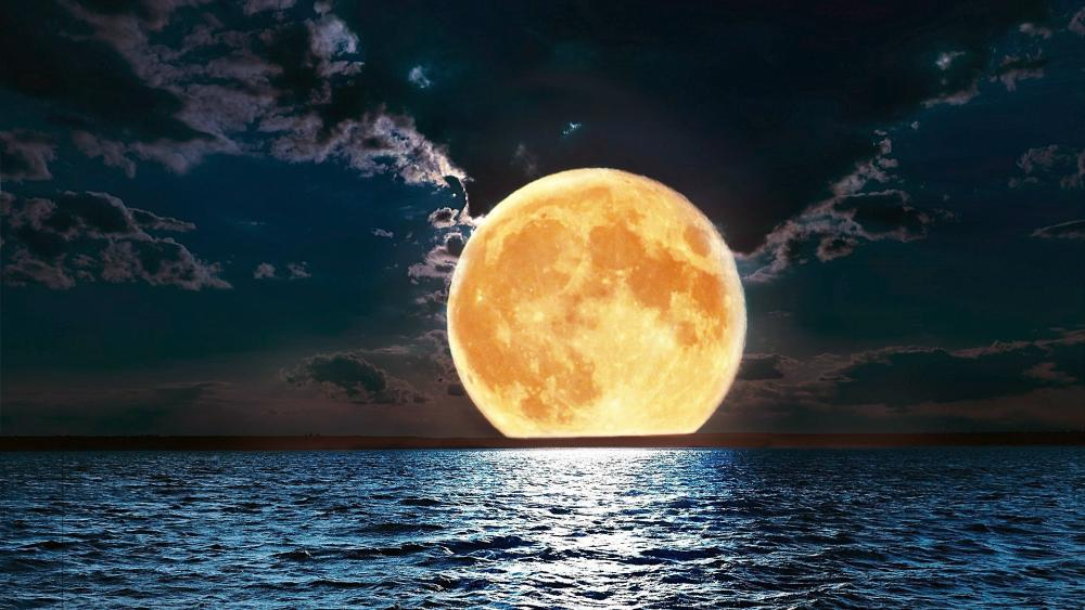 Sea and full moon wallpaper